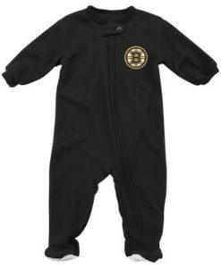 Boston Bruins Baby Black Zip Up Blanket Sleeper Coverall