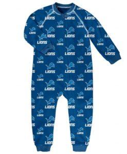 Detroit Lions TODDLER Blue Raglan Zip Up Sleeper Coverall
