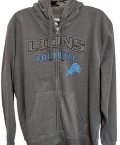 Detroit Lions Men's Charcoal Full Zip Hoodie