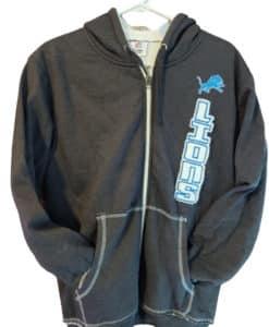 Detroit Lions Men's Charcoal Sherpa Lined Full Zip Hoodie