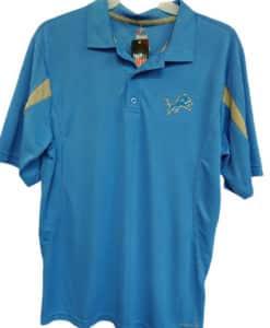 Detroit Lions Men's LARGE Majestic Blue Raz Polo Shirt