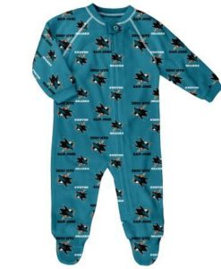 San Jose Sharks Baby Teal Raglan Zip Up Sleeper Coverall