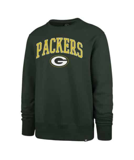 Green Bay Packers Men's 47 Brand Arch Dark Green Crew Long Sleeve Pullover