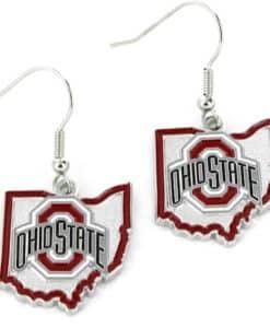 Ohio State Buckeyes State Shape Dangle Earrings