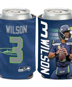Seattle Seahawks 12 oz Blue Russell Wilson Can Cooler Holder