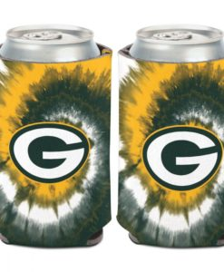 Green Bay Packers 12 oz Tie Dye Green Yellow Can Cooler Holder