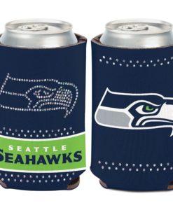 Seattle Seahawks 12 oz Bling Navy Can Cooler Holder
