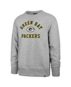 Green Bay Packers Men's Gray 47 Brand Varsity Crew Long Sleeve Pullover