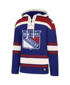 New York Rangers Men's 47 Brand Royal Blue Pullover Jersey Hoodie