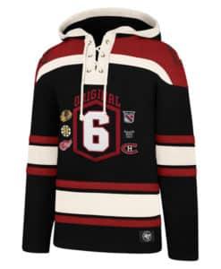 Original Six Men's 47 Brand Black Pullover Jersey Hoodie