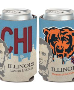 Chicago Bears 12 oz State Plate Columbia Blue Can Cooler Holder