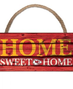 """Kansas City Chiefs Wood Sign with Rope Home Sweet Home 5""""x10"""""""