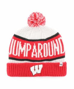 Wisconsin Badgers 47 Brand White Red Calgary Cuff Knit Hat