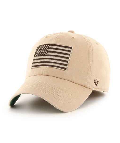 Operation Hat Trick 47 Brand USA Flag Khaki Franchise Fitted Hat