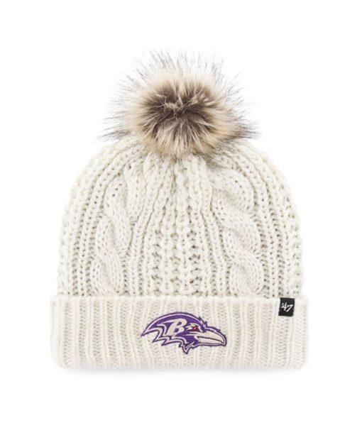 Baltimore Ravens Women's 47 Brand White Cream Meeko Cuff Knit Hat