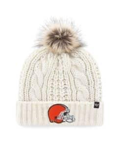 Cleveland Browns Women's 47 Brand Orange White Cream Meeko Cuff Knit Hat