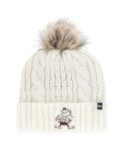 Cleveland Browns Women's 47 Brand Classic White Cream Meeko Cuff Knit Hat