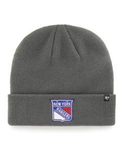 New York Rangers 47 Brand Charcoal Raised Cuff Knit Hat
