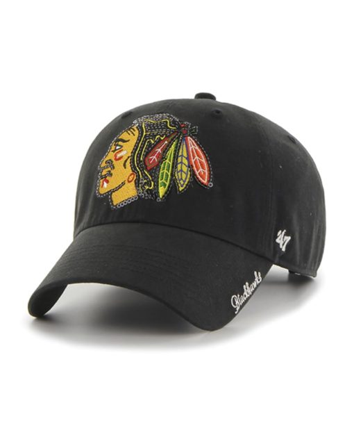Chicago Blackhawks Women's 47 Brand Sparkle Black Clean Up Adjustable Hat