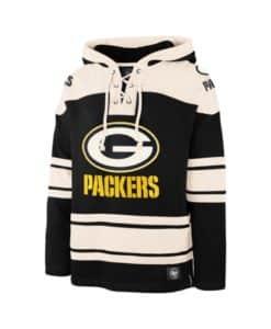 Green Bay Packers Men's 47 Brand Black Pullover Jersey Hoodie