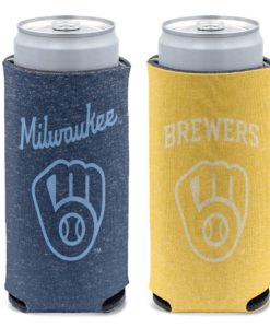 Milwaukee Brewers 12 oz Heather Navy Yellow Slim Can Cooler Holder