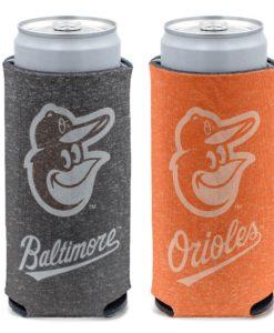 Baltimore Orioles 12 oz Heather Black Orange Slim Can Cooler Holder