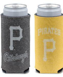 Pittsburgh Pirates 12 oz Heather Black Yellow Slim Can Cooler Holder