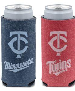 Minnesota Twins 12 oz Heather Navy Red Slim Can Cooler Holder