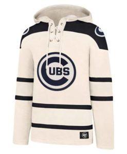 Chicago Cubs Men's 47 Brand Vintage Cream Pullover Jersey Hoodie