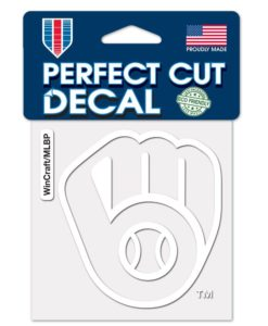 "Milwaukee Brewers 4""x4"" GLOVE Perfect Cut White Decal"