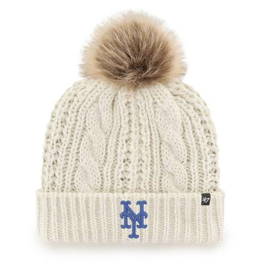 New York Mets Women's 47 Brand White Cream Meeko Cuff Knit Hat