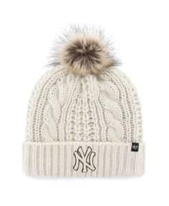 New York Yankees Women's 47 Brand White Cream Meeko Cuff Knit Hat