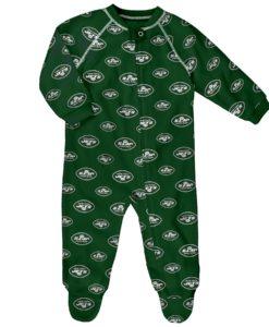 New York Jets Green Raglan Zip Up Sleeper Coverall