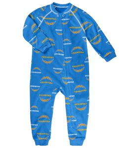 Los Angeles Chargers Baby Powder Blue Raglan Zip Up Sleeper Coverall