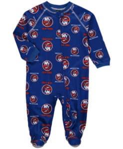 New York Islanders Baby Blue Raglan Zip Up Sleeper Coverall