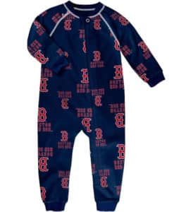 Boston Red Sox TODDLER Baby Navy Raglan Zip Up Sleeper Coverall